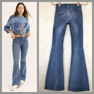 Free People Mid Rise Flare Pull On Retro Jeans